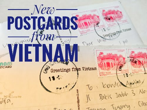 Vietnamese stamp on postcard