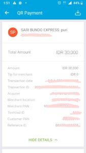 Bukti pembayaran dengan QR Code Jenius