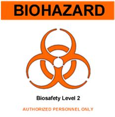 Lambang Biohazard untuk ruangan atau fasilitas dengan biosafety level tertentu (BSL)